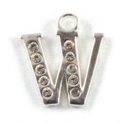 Letter W - Sterling Silver Charm With Crystals